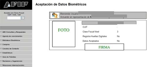 AFIP Datos Biometricos