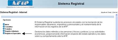 Registros Especiales AFIP