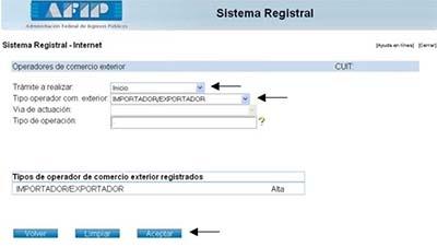 Sistema Registral Importador Exportador Inicio